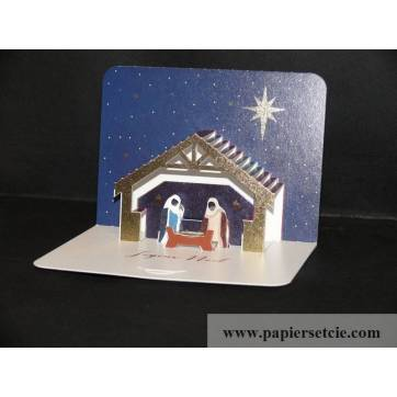 Carte anglaise Pop Up Joyeux Noël La Crêche