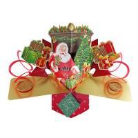"""Carte Pop Up de Voeux """"Joyeux Noël Le Père Noël et la Cheminée"""""""