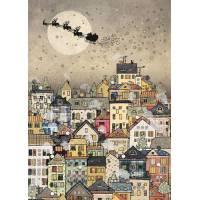 Carte double Meilleurs Voeux Village et Traineau du Père Noël