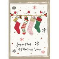 Carte double pailletée  Joyeux Noël et Meilleurs Voeux Les Chaussettes