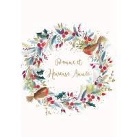 Carte double Bonne et Heureuse Année Couronne et Oiseaux avec dorure