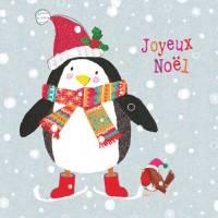 Carte double pailletée Joyeux Noël Le Pingouin