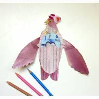 """Carte Vintage animée """"L'oiseau rose et ses oeufs"""""""