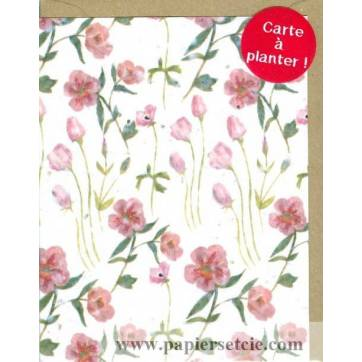 Carte à planter Hannah Marchant Fleurs roses, fond blanc, graines Fleurs des champs