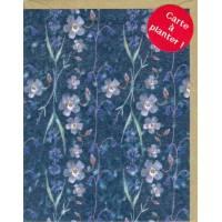 Carte à planter Hannah Marchant Fleurs bleues, fond bleu, graines Fleurs des champs