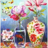 Carte d'art Gwenaëlle Trolez Sophie Addé Fleurs et Papillons