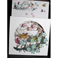 """Carte anglaise 3D laser """"Petite boite"""" Oiseau et Fleurs roses et bleues"""
