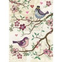 Carte double Deux oiseaux sur la branche