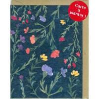 Carte à planter Hannah Marchant Petites fleurs fond marine, Fleurs des champs