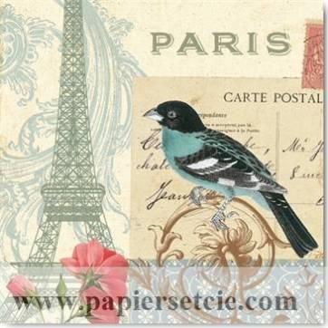 Carte vintage Alain Pelletier Oiseau bleu et Tour Eiffel