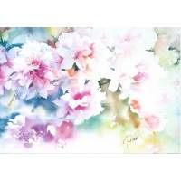 Carte Jean Caude Papeix Aquarelle Rhododendrons roses